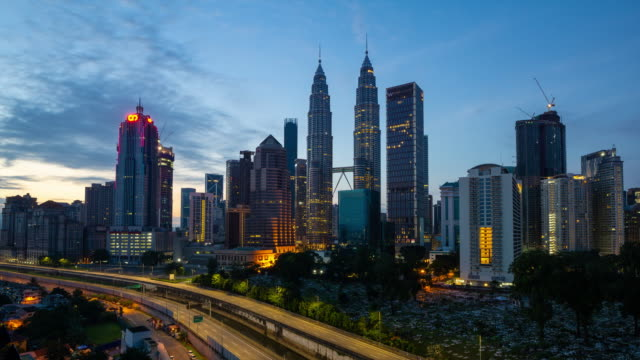 4K Time lapse of cloudy sunrise over downtown Kuala Lumpur, Malaysia.