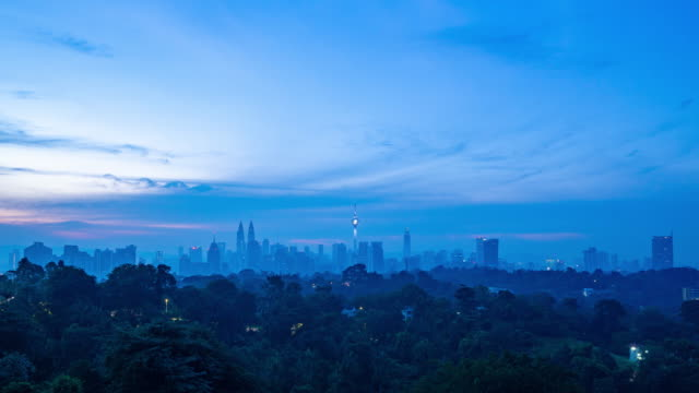 4K Time lapse of cloudy sunrise over downtown Kuala Lumpur, Malaysia. Zoom In