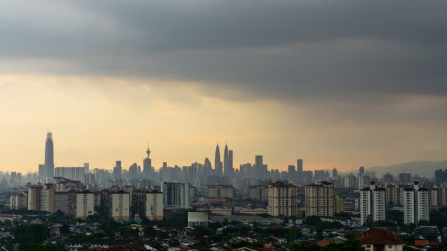 4K Time lapse of cloudy sunset over downtown Kuala Lumpur, capital city of Malaysia. Zoom In.