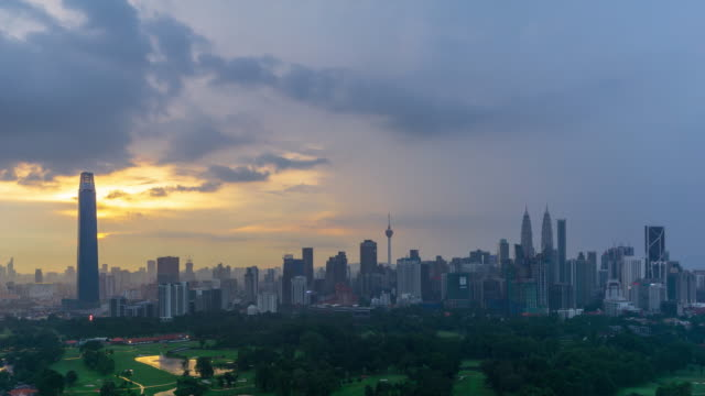 4K Time lapse of cloudy sunset over downtown Kuala Lumpur. Its modern skyline is dominated by the 451m tall KLCC, a pair of glass and steel clad skyscrapers.