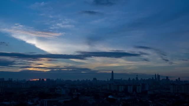 4K Time lapse of cloudy sunset over downtown Kuala Lumpur, Malaysia.