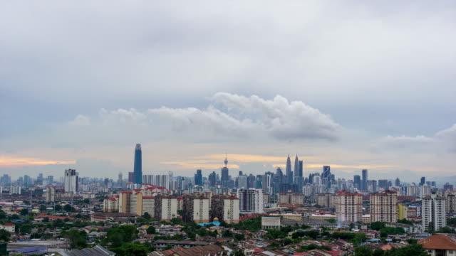 4K Time lapse of cloudy sunset over downtown Kuala Lumpur.