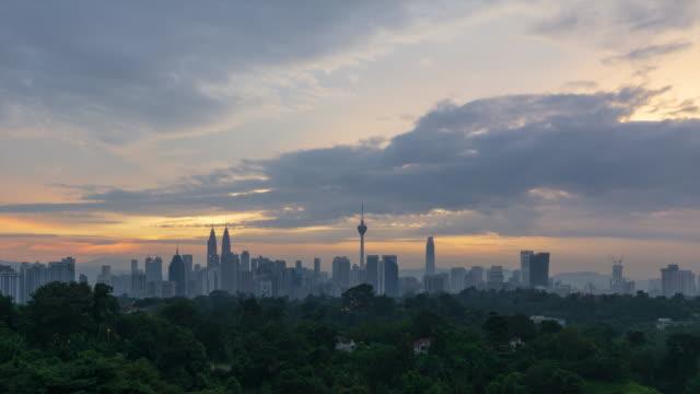 4K Time lapse of cloudysunrise over downtown Kuala Lumpur, Malaysia.