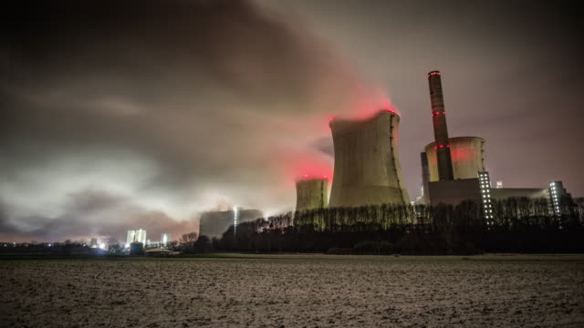 time lapse of coal fired power station - tracking shot - coal fired power station stock videos and b-roll footage