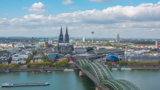 time lapse of cologne city skyline - cathedral stock videos & royalty-free footage
