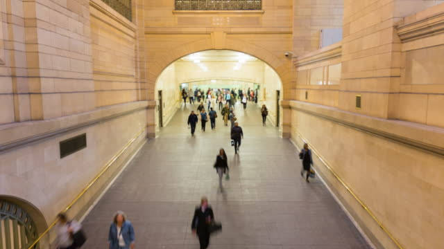 time lapse of commuters at grand central station - midtown new york city stock videos and b-roll footage
