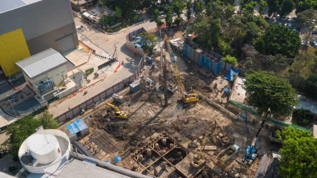 Time Lapse of Construction site (aerial view)