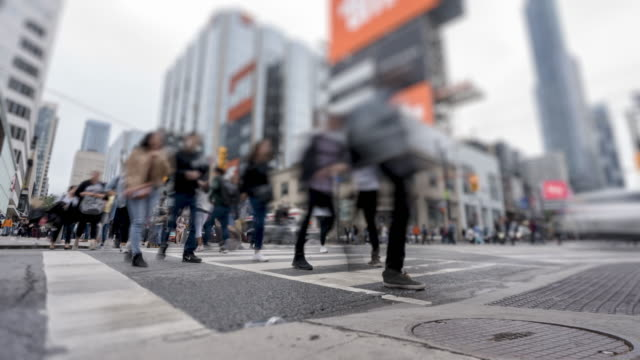 time lapse of crosswalk at four-way intersection near dundas square in downtown toronto - day stock videos & royalty-free footage