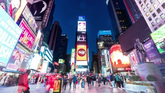 4k time lapse of crowd anonymous tourist walking and visiting times square area at twilight time, new york, united states, usa, travel and landmark with business concept - square composition stock videos & royalty-free footage