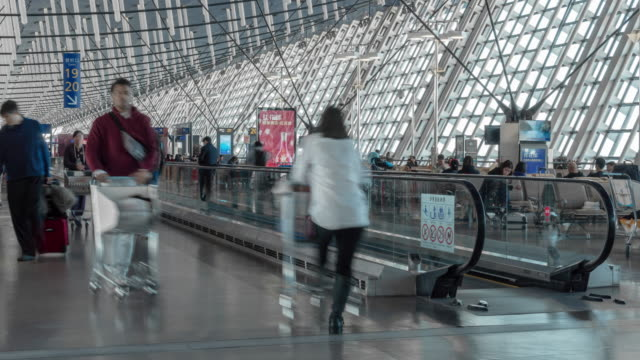 4k time lapse of crowd passenger and tourist walking on escalator walkway in rush hour at pudong international airport terminal, shanghai, china, travel and transportation concept - pedestrian walkway stock videos & royalty-free footage