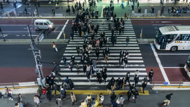 4k time lapse of crowd undefined people walking on the street cross-walk with car traffic in shinjuku tokyo city at night time, japan. japanese culture and shopping street concept - citizenship stock videos & royalty-free footage