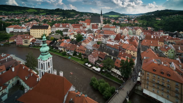 Time Lapse of Crowd walking at Cesky Krumlov downtown, Czech
