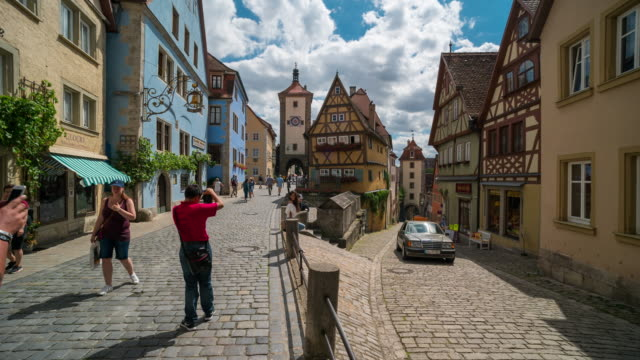 Time Lapse of Crowd walking at Downtown Rothenburg ODT, Germany