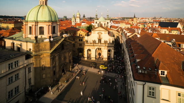 time lapse of crowd walking at prague downtown, czech - old town bridge tower stock videos and b-roll footage