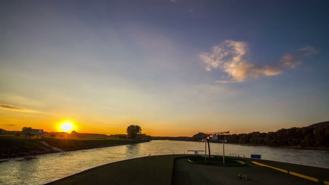 Time Lapse of cruise on Danube River during sunset