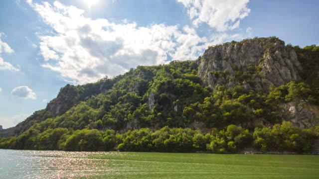 Time Lapse of Danube River next to the Dacian King near Orsova, Romania