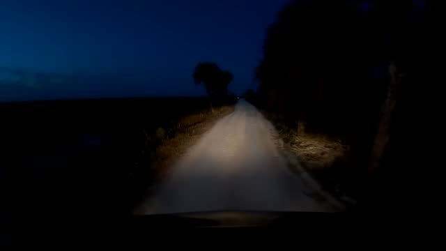 Time lapse of dashboard camera point of view of driving at twilight
