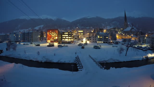 Time lapse of Davos ski resort home of yearly World Economic Forum meeting