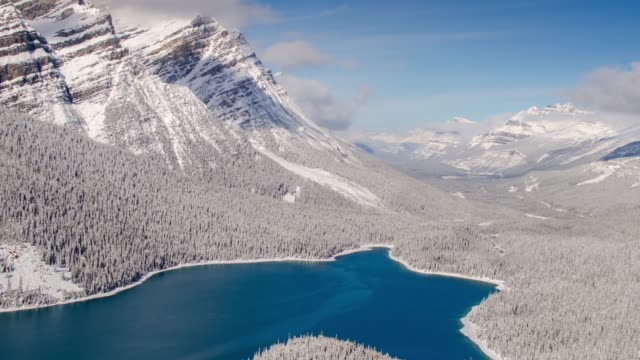 Time lapse of daylight at peyto lake with snow at the winter time , time lapse zoom out movement