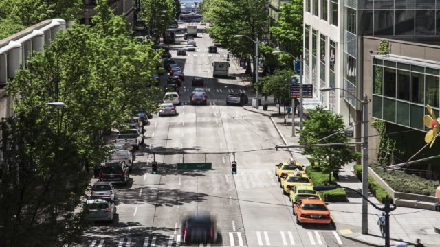 Time lapse of daytime traffic moving down a wide, one way, tree-lined road in downtown Seattle