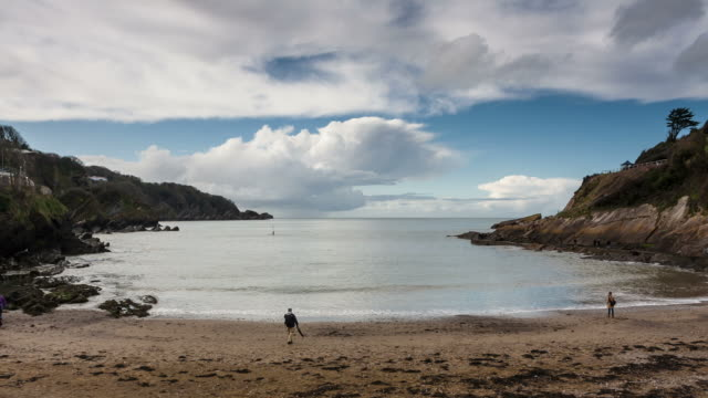 devon - circa 2012:  time lapse of devon's bay, uk with people, storm clouds on the background - gruppo medio di animali video stock e b–roll