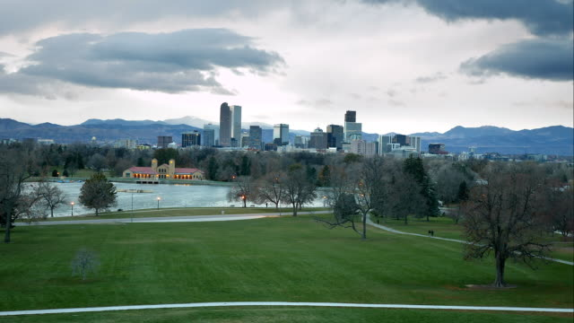Time Lapse of Downtown Denver at Sunset