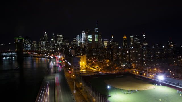Time lapse of downtown financial district Manhattan NYC