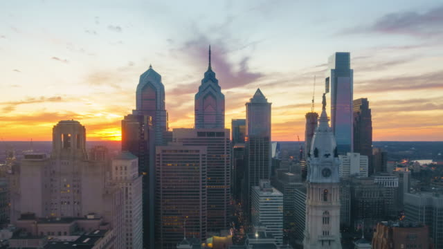 Time lapse of downtown skyline Philadelphia
