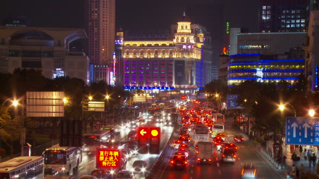 Time Lapse of downtown traffic in Shanghai China