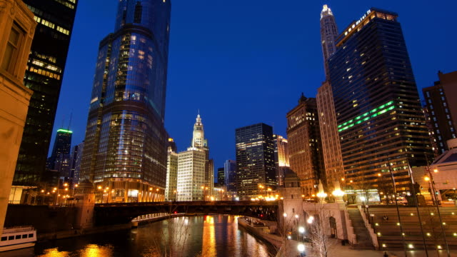 time lapse of downtown waterfront at night, chicago, illinois, united states - steps stock videos & royalty-free footage