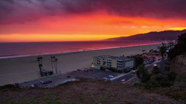 time lapse of dramatic sunset at palisades park, santa monica - malibu stock videos & royalty-free footage