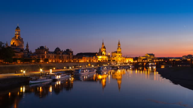 time lapse of dresden historic skyline and elbe river, day to night, zoom in - dresden germany stock videos & royalty-free footage