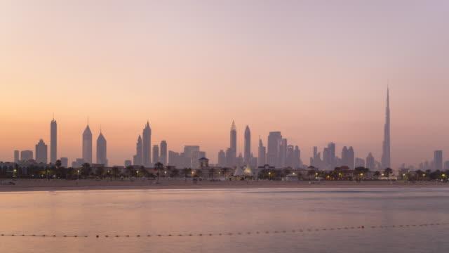 Time Lapse of Dubai Skyline at dawn