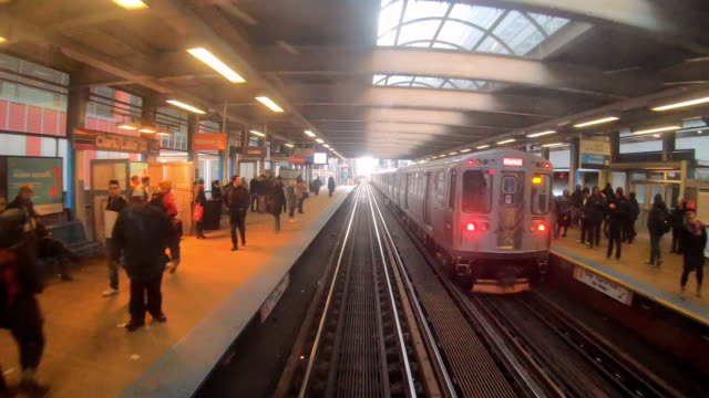 4k time lapse of elevated train tracks and railroad tracks between the building at the loop line at chicago, illinois, usa - chicago loop stock videos and b-roll footage