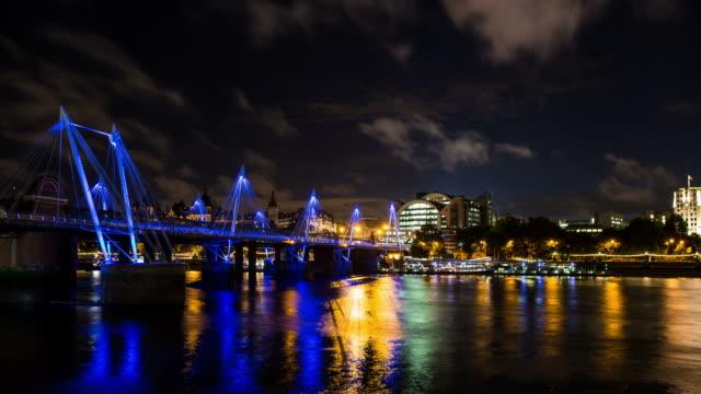 london - circa 2013: time lapse of embankment bridge during the night  - 2013 stock videos & royalty-free footage