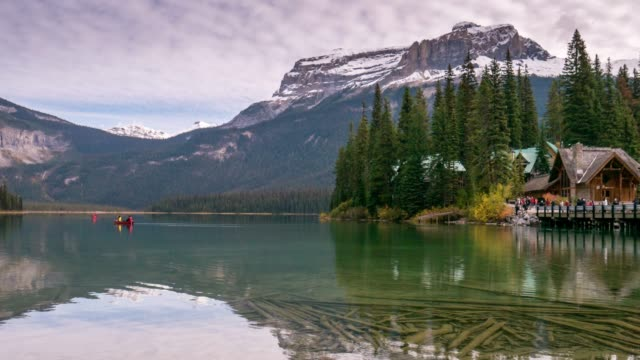 time lapse of emerald lake landscape nature scene in yoho national park , alberta ,canada - banff stock videos & royalty-free footage