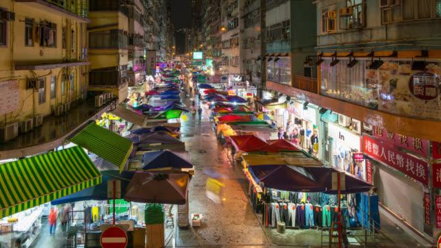 Time lapse of Fa Yuan flea night market at Mongkok in Hong Kong China