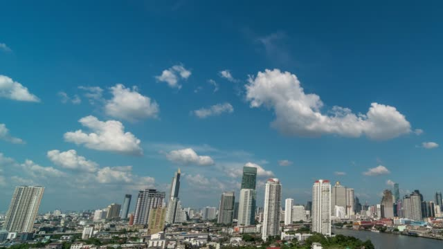 4k time lapse of fantastic cloud moving over the bangkok cityscape river side, nature and cityscape concept - bangkok stock videos & royalty-free footage