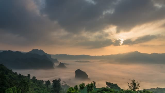 time lapse of fantastic landscape witg mist flowing with mountain when sunrise at phulangka a point of view, phayao province thailand.4k clip - north stock videos & royalty-free footage