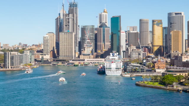 time lapse of ferry traffic, circular quay, sydney, australia - ferry stock videos & royalty-free footage