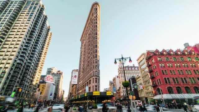 time lapse of flatiron building, new york city - flatiron building manhattan stock videos & royalty-free footage