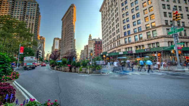 hdr time lapse of flatiron building new york city - flatiron building manhattan stock videos and b-roll footage