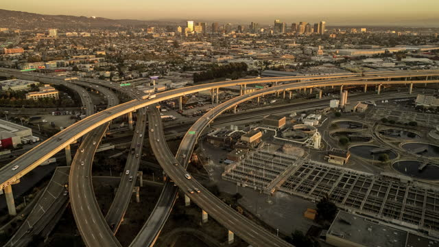 time lapse of freeway with downtown oakland - northern california stock videos & royalty-free footage