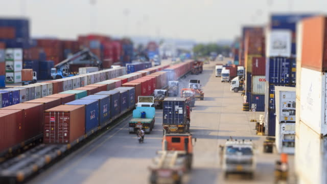 4K Time lapse of Freight train and Logistics operation in railroad container yard.