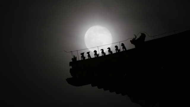 Time Lapse of Full Moon Rising Over Forbidden City Roof in Beijing