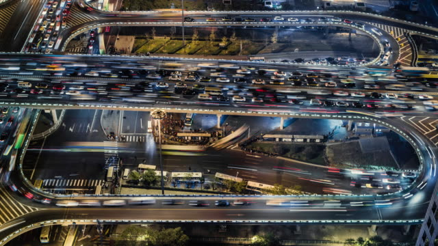 time lapse of Gaumao road intersection in central beijing, aerial view