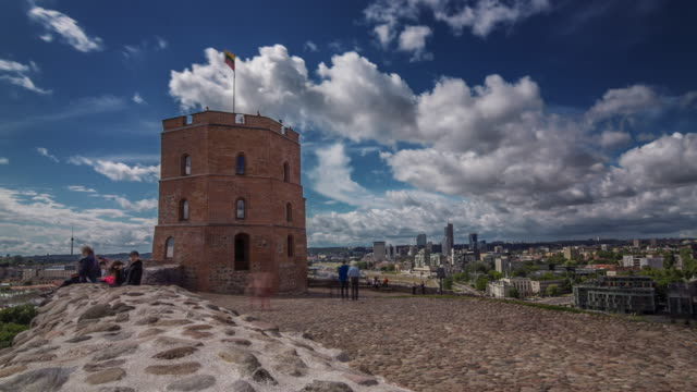 Time lapse of Gediminas tower in Vilnius, Lithuania.