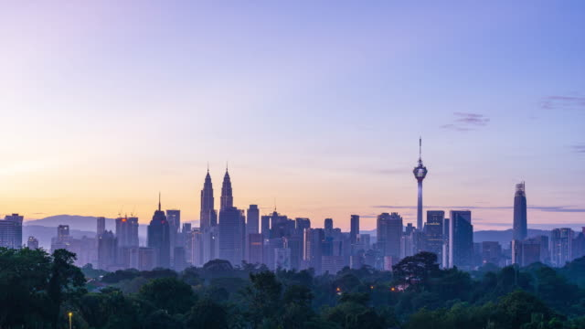 4K Time lapse of glory sunrise over downtown Kuala Lumpur, Malaysia.