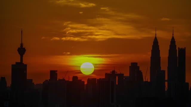 4K Time lapse of glory sunset over downtown Kuala Lumpur, Malaysia.
