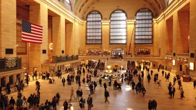 time lapse of grand central station in manhattan - station stock videos & royalty-free footage